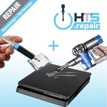 Dépoussiérage et remplacement de pâte thermique pour PS4 Slim.